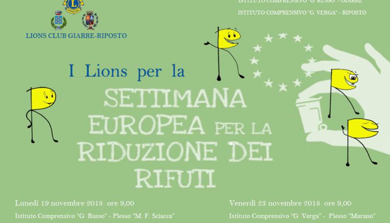 Il Lions Giarre-Riposto per la settimana europea riduzione rifiuti