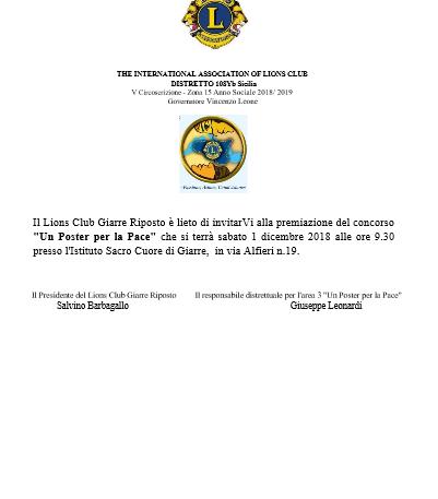 """Il 1° Dicembre """"Poster per la Pace"""" al Sacro Cuore di Giarre"""