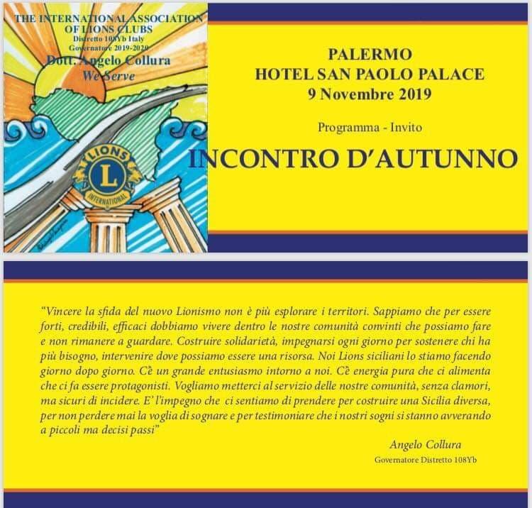 SABATO 9 INCONTRO D'AUTUNNO A PALERMO