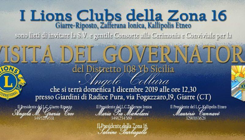 DOMENICA 1 DICEMBRE VISITA DEL GOVERNATORE