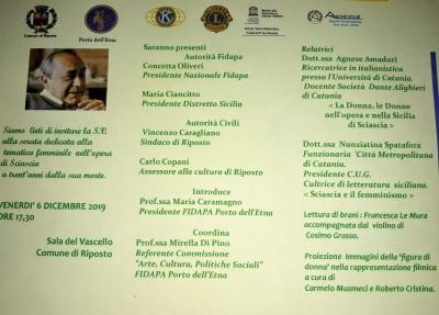 Venerdì 6 convegno su Sciascia a Riposto