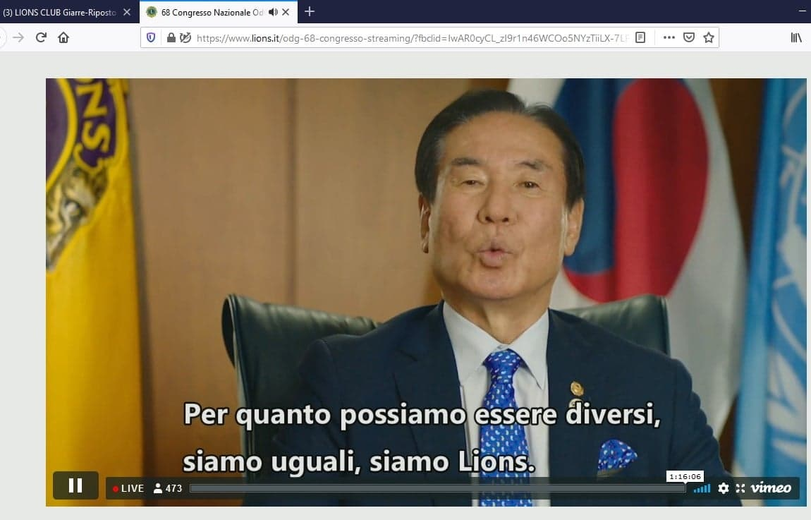 IL 13 GIUGNO CONGRESSO LIONS IN DIRETTA STREAMING
