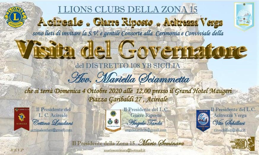 IL 4 OTTOBRE VISITA DEL GOVERNATORE LIONS MARIELLA SCIAMMETTA